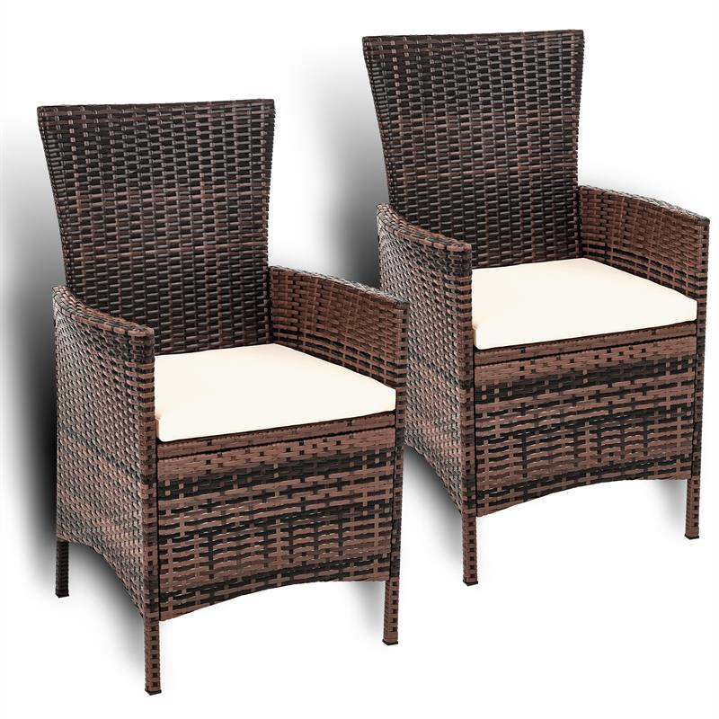 Gartenstühle rattan  2er Set Polyrattan Gartensessel Stühle Rattan Gartenstühle Sessel ...
