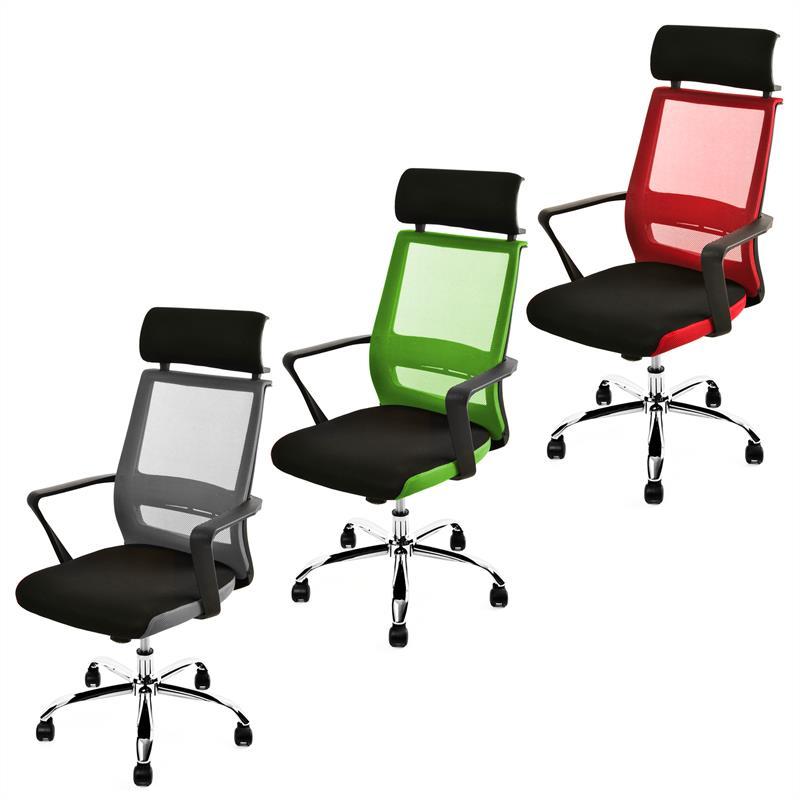 b rostuhl mit kopfst tze schreibtischstuhl design drehstuhl stuhl mesh netz ebay. Black Bedroom Furniture Sets. Home Design Ideas
