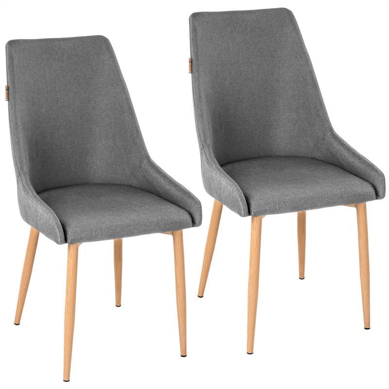 retro esszimmerst hle grau stoffbezug k chenst hle st hle esszimmer 2er set ebay. Black Bedroom Furniture Sets. Home Design Ideas
