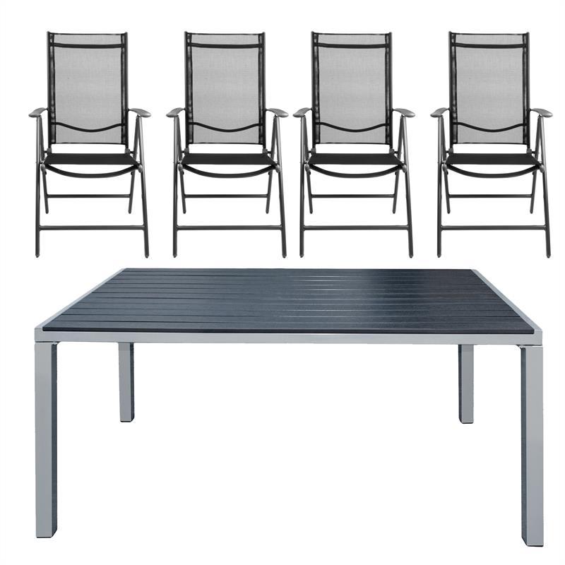 Gartentisch Set Alu Wpc Schwarz 150x90 4x Stuhl Garten Klappstuhle