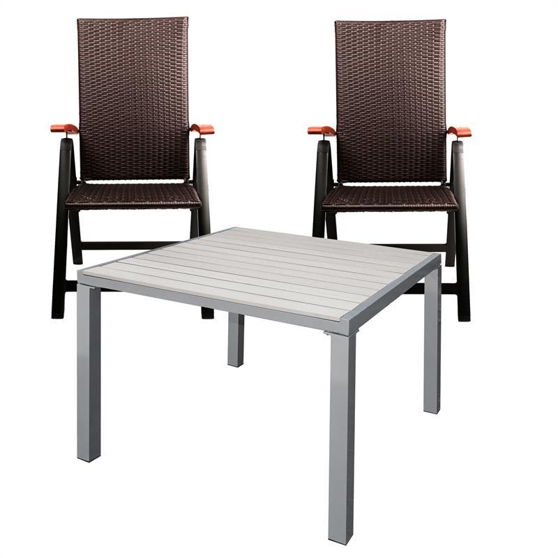 gartensitzgruppe gartenst hle gartentisch alu 2 4 st hle rattan gartenm bel set ebay. Black Bedroom Furniture Sets. Home Design Ideas