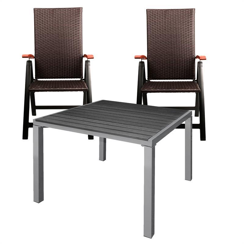 gartentisch set alu wpc schwarz 90x90 2x stuhl klappstuhl. Black Bedroom Furniture Sets. Home Design Ideas