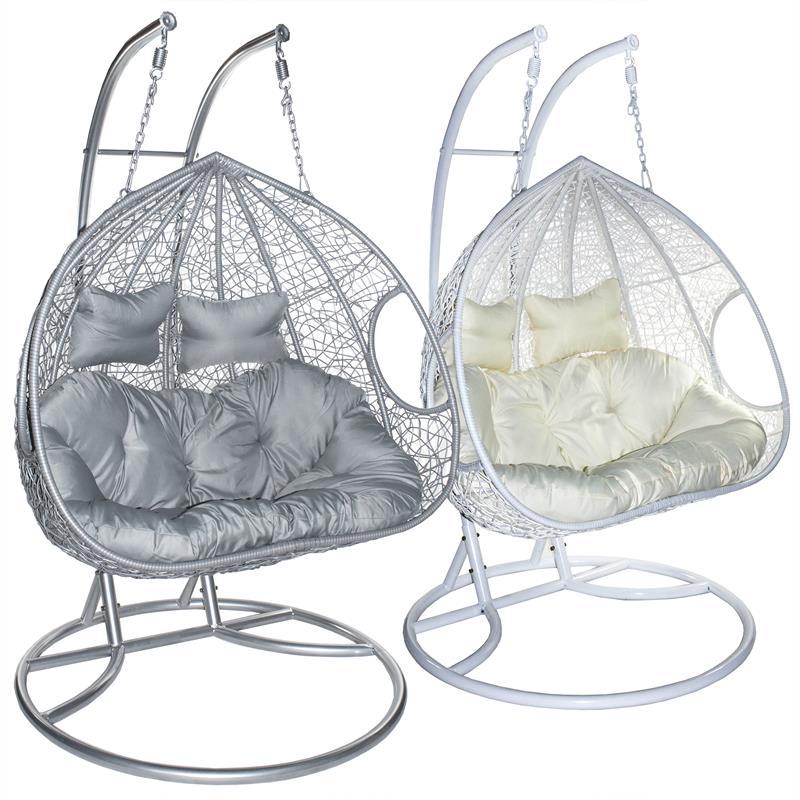 h ngesessel rattan mit gestell zweisitzer polyrattan h ngekorb h ngeschaukel ebay. Black Bedroom Furniture Sets. Home Design Ideas