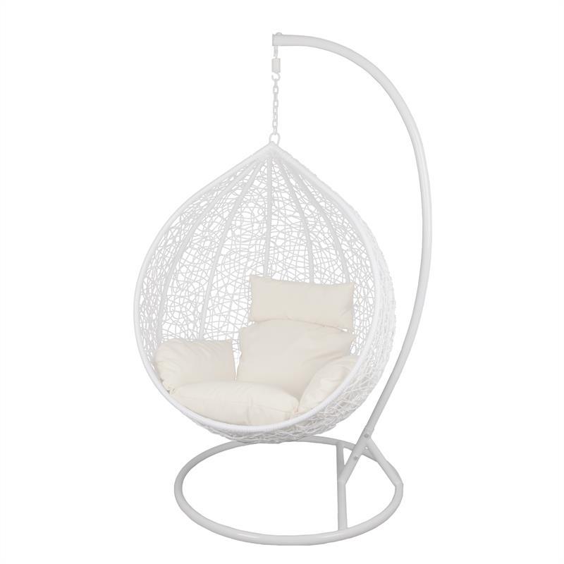 rattan h ngesessel mit gestell polyrattan h ngekorb grau relax gartensessel ebay. Black Bedroom Furniture Sets. Home Design Ideas