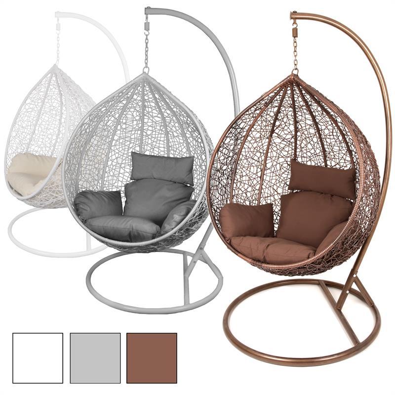 estexo h ngesessel mit gestell polyrattan h ngekorb h nge schaukel stuhl rattan ebay. Black Bedroom Furniture Sets. Home Design Ideas