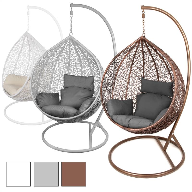 estexo h ngesessel mit gestell polyrattan h ngekorb h nge schaukel stuhl rattan ebay. Black Bedroom Furniture Sets. Home Design Ideas