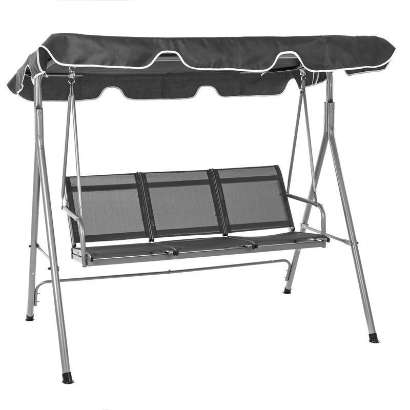 hollywoodschaukel gartenschaukel grau mit dach garten schaukel 3 sitzer ebay. Black Bedroom Furniture Sets. Home Design Ideas