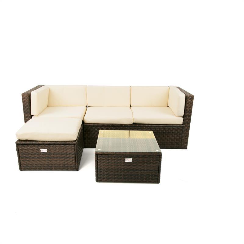 Lounge Garnitur Braun Polyrattan Gartenmöbel Sitzgruppe Couch Rattan ...