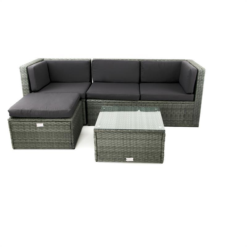 Lounge Garnitur Grau Polyrattan Gartenmöbel Sitzgruppe Couch Rattan ...