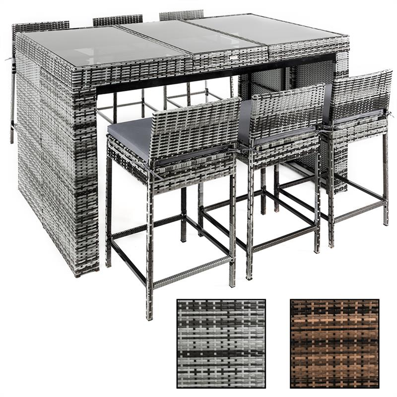 polyrattan barset gartenbarset rattan gartenm bel stehtisch barhocker grau braun ebay. Black Bedroom Furniture Sets. Home Design Ideas