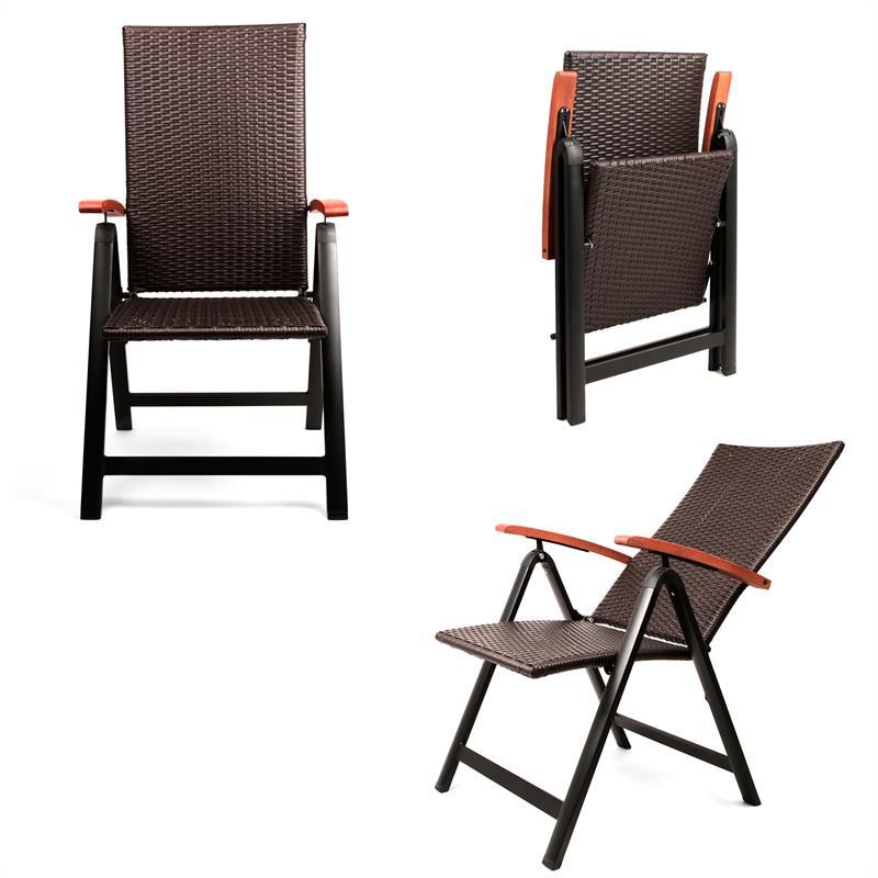aluminium gartenstuhl poly rattan multipositionssessel klappstuhl terrassenstuhl ebay. Black Bedroom Furniture Sets. Home Design Ideas