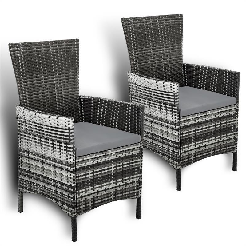 Polyrattan Stuhl Stühle Rattan Gartenstühle Sessel Gartensessel Grau 2er Set