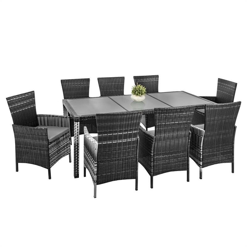 polyrattan gartenm bel 8 personen set essgruppe grau garnitur sitzgruppe rattan ebay. Black Bedroom Furniture Sets. Home Design Ideas