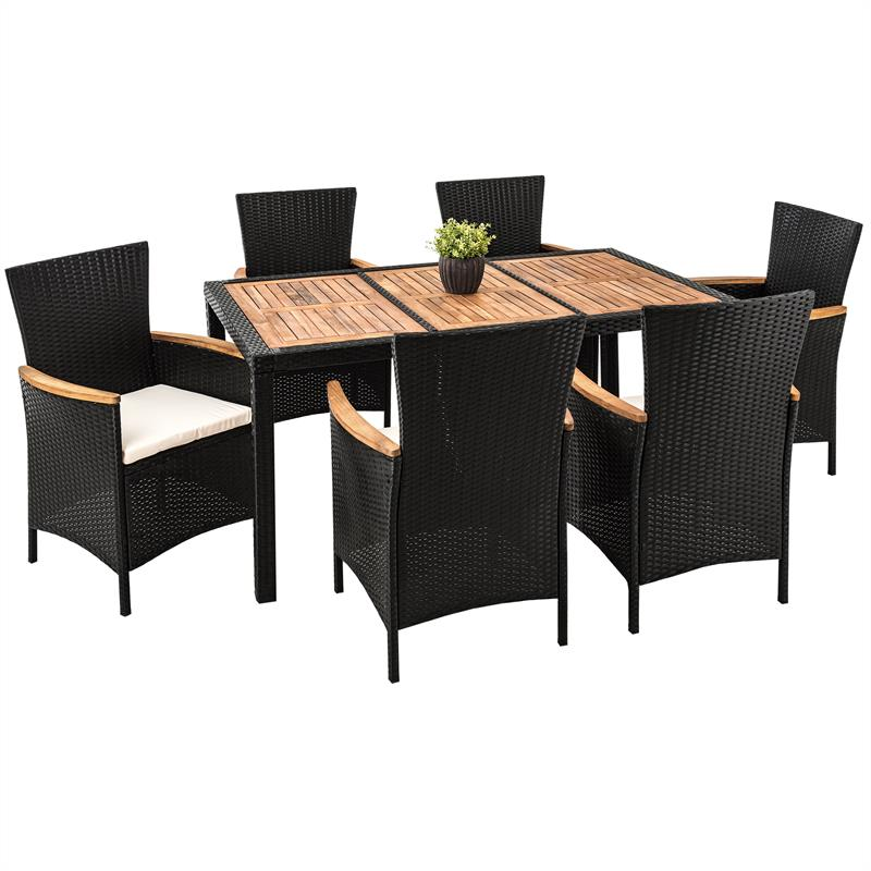 polyrattan sitzgruppe rattan essgruppe gartenm bel akazienholz schwarz grau set ebay. Black Bedroom Furniture Sets. Home Design Ideas