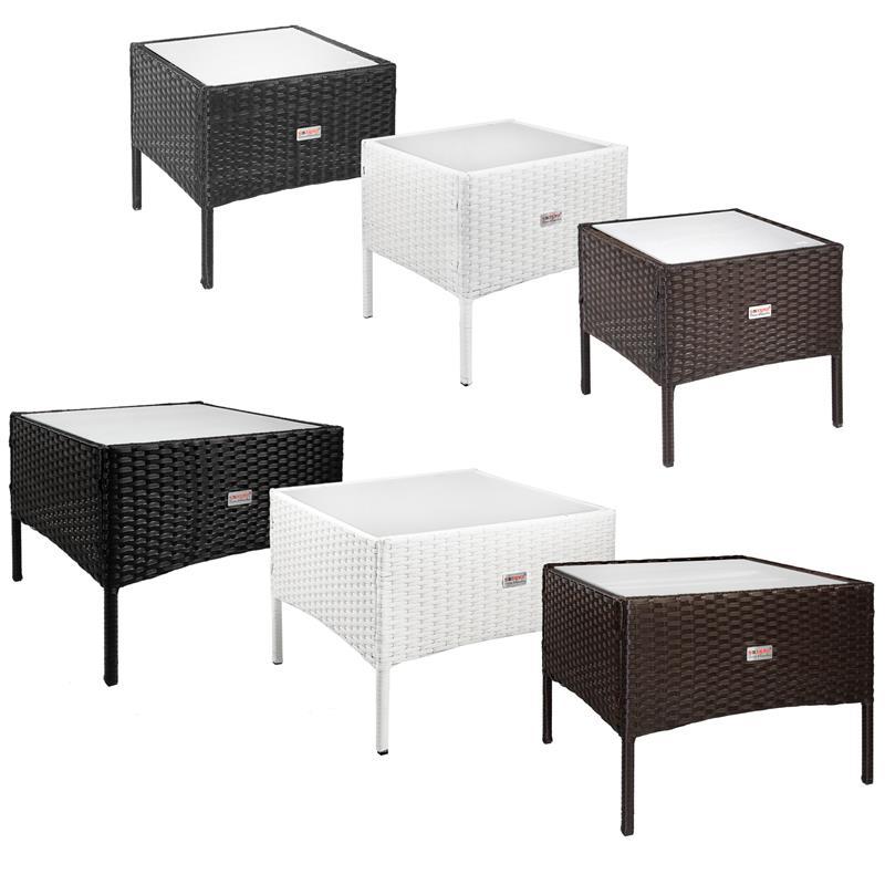 estexo polyrattan beistelltisch teetisch garten rattan tisch gartenm bel ebay. Black Bedroom Furniture Sets. Home Design Ideas