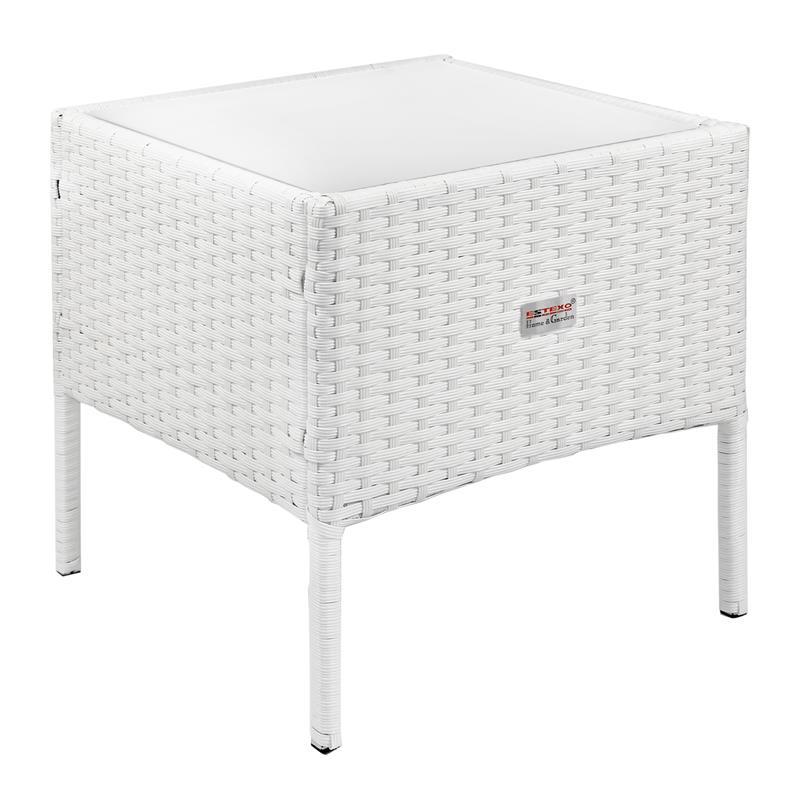 Polyrattan Beistelltisch Weiss 40x40 Cmteetisch Garten Rattan Tisch