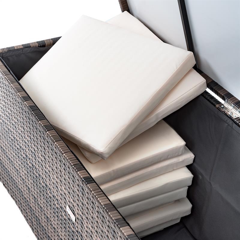 rattan auflagenbox box braun polyrattan gartenbox kissenbox gartentruhe kiste ebay. Black Bedroom Furniture Sets. Home Design Ideas