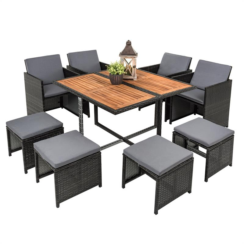 polyrattan garten set rattan sitzgruppe gartenm bel rattanm bel grau 8 personen ebay. Black Bedroom Furniture Sets. Home Design Ideas