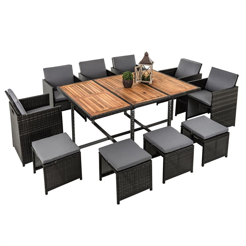 polyrattan garten set rattan sitzgruppe gartenm bel rattanm bel grau 10 personen ebay. Black Bedroom Furniture Sets. Home Design Ideas