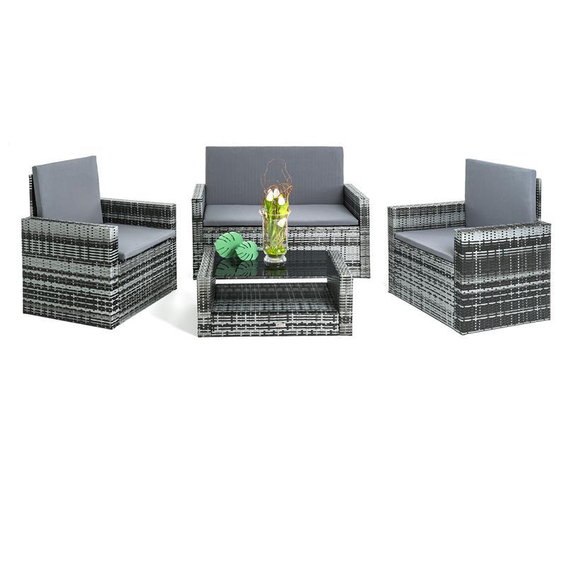 Rattan lounge schwarz grau  Poly Rattan Sitzgruppe Grau Gartenmöbel Gartengarnitur Lounge Set 4 ...